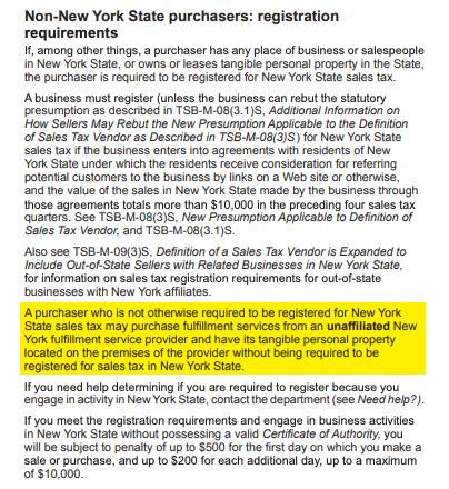 New York Nexus Exception
